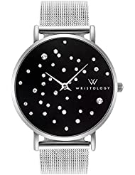 WRISTOLOGY Stella Midnight Womens Silver Boyfriend Watch Black Face Crystal Metal Mesh Strap Band