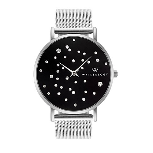 Metal Mesh Strap - WRISTOLOGY Stella Midnight Womens Silver Boyfriend Watch Black Face Crystal Metal Mesh Strap Band