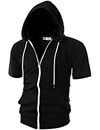 Mens Slim Fit Short Sleeve Lightweight Zip-up Hoodie with Kanga Pocket