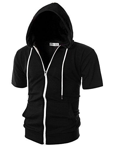 OHOO Mens Slim Fit Short Sleeve Lightweight Zip-up Hoodie with Kanga Pocket/DCF007-BLACK-XL (Short Sleeve For Men Hoodies)