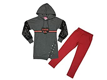 Le Crystal Girls 2PCS Sports Set, Grey/Red