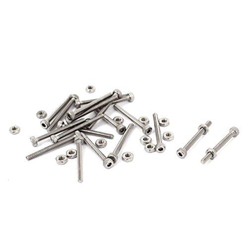 uxcell M2 x 20mm 22mm Long Hex Socket Knurled Cap Screws Bolts Nuts Set 20Pcs