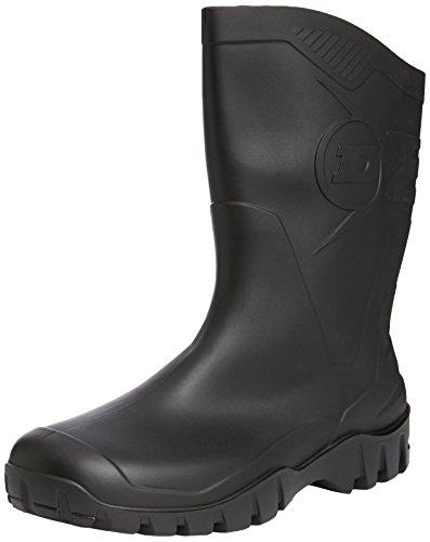 Dunlop - Botas de agua de caña ancha para hombre, color verde negro