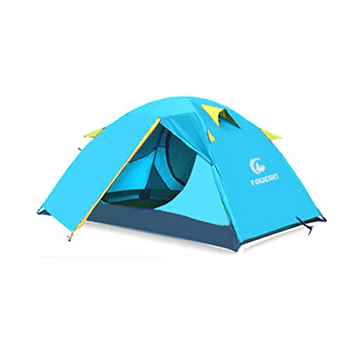 TUCHENG 2 Person 4 Seasons Portable Outdoor Folding Tent Waterproof 2 Doors Fiberglass for Outdoor Camping Hiking Dome Tent Double-Person Backpacking Tent (4.74) (Dome Truck Tent)