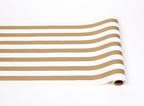 Gold and White Striped Paper Table Runner -