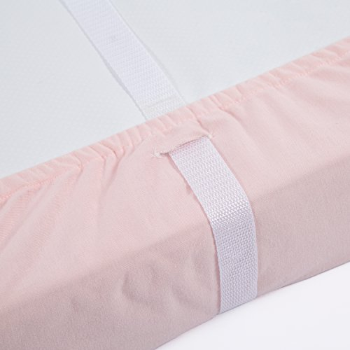 "41SXFM6dffL - TILLYOU Jersey Knit Ultra Soft Changing Pad Cover Set-Unisex Diaper Change Table Sheets For Baby Girls And Boys-Fit 32""/34'' X 16"" Pad-Comfortable Cozy Cradle Sheets-2 Pack Peachy Pink & Lt Gray"