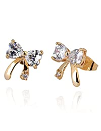 1 Pair Women Bow Tie Copper Gold Plated Ear Studs Elegant Crystal Earrings Boucles D'oreilles