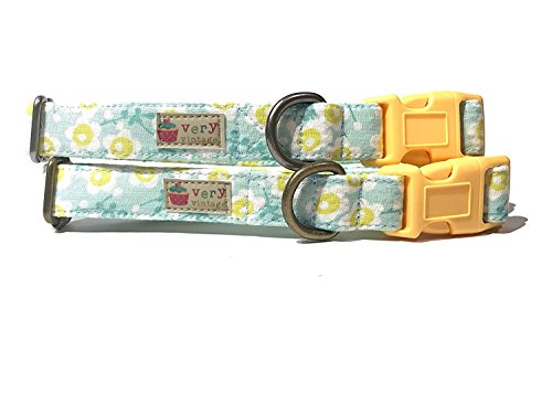 Harbor June - Very Vintage Mint Green & Pastel Yellow Sunflowers Floral Flowers Organic Cotton Pet Collar - Handmade in the USA (1