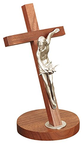 11 Inch Walnut Gifts of the Spirit Crucifix Finish Pewter Corpus Elegantly Boxed