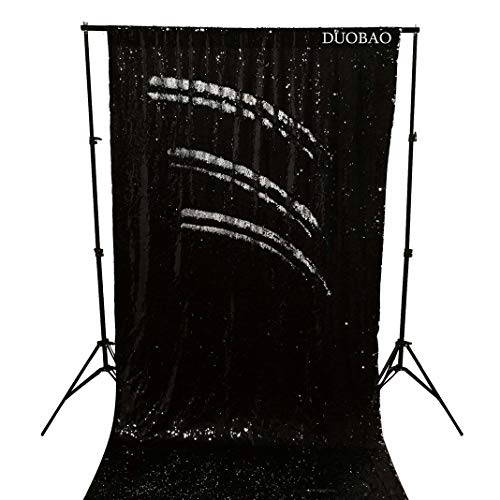DUOBAO Sequin Backdrop Curtains 2 Panels 4FTx8FT Reversible Sequin Curtains Black to Silver Mermaid Sequin Curtain for Wedding Backdrop Party Photography Background by DUOBAO (Image #1)