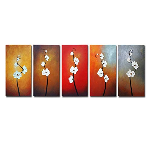 (Wieco Art Large Modern Colorful Flowers Artwork 5 Piece 100% Hand Painted Framed Contemporary Abstract Floral Oil Painting on Canvas Wall Art Ready to Hang for Living Room Bedroom Home Decorations)