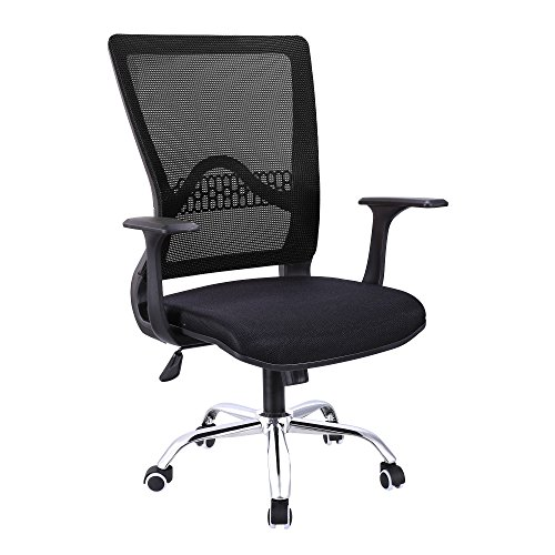 Modrine Ergonomic Office Chair with Adjustable Height, 360-Degree Swiveling Castors Mesh Padded Seat, Mid-Back Mesh Swivel Task Chair for Home Office (Black) (Ergonomic Contemporary Task Chair)