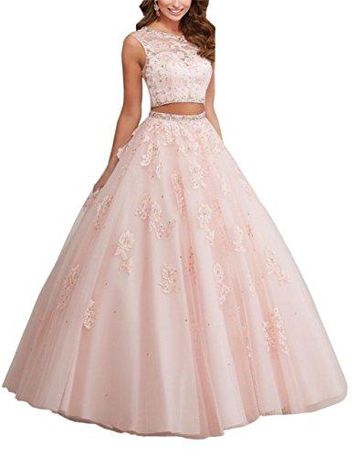 engerla zweiteiliges Ballkleid Kleid aufreihmaterialien Aufnäher Damen Sheer Lacy Kristall Rückseite Quinceanera Jewel Pink rwxqnr1pF