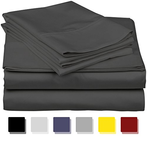 True Luxury 1000-Thread-Count 100% Egyptian Cotton Bed Sheets, 4-Pc Queen Dark Grey Sheet Set, Single Ply Long-Staple Yarns, Sateen Weave, Fits Mattress Upto 18