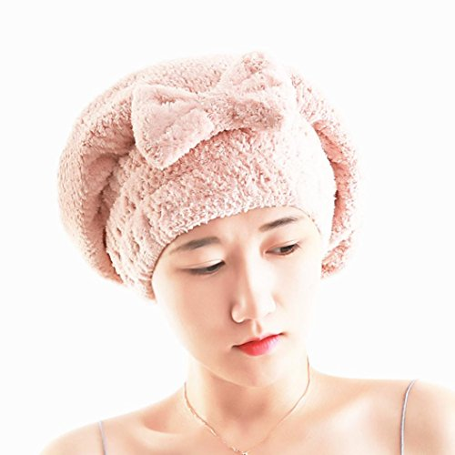 Price comparison product image Bowake Clearance! Microfiber Hair Turban Quickly Dry Hair Hat Wrapped Towel Bathing Cap (pink)