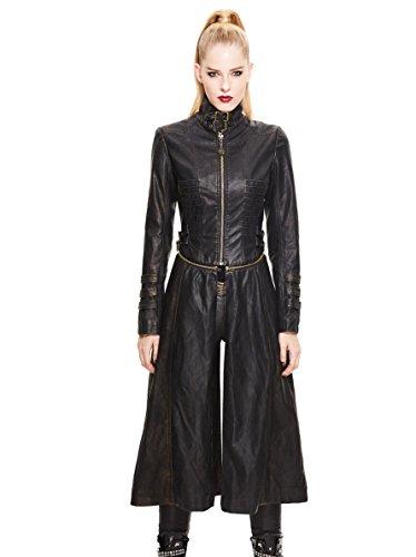 desmontable colgantes Heavy Señoras ropa cuero Retro con e Hebilla mujeres Steampunk abrigos PU Metal invierno negro chaqueta moda desmontable góticas de Cobre otoño qr0I0gWwH