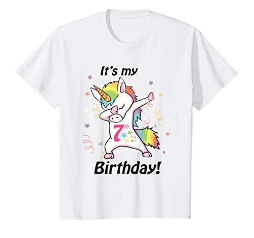 Kids It's my 7th Birthday Unicorn Dabbing Shirt (7 Year Old ()