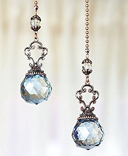 Ceiling Fan Pull Chain (The Lakeside Collection Set of 2 Vintage Jeweled Fan Pulls (Blue))