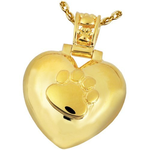 Memorial Gallery Pets 3245gp Heart with Paw Print Bail 14K Gold/Silver Plating Pet Jewelry by Memorial Gallery Pets