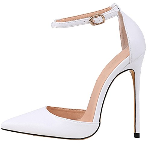 Lovirs Womens White PU High Heel Pointed Toe Ankle Strap Stiletto Pumps Wedding Basic Shoes 12 M US -