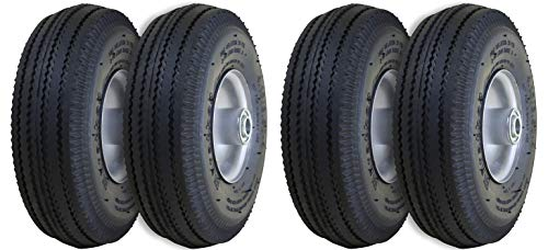 Marathon 4.10/3.50-4 Pneumatic (Air Filled) Hand Truck/All Purpose Utility Tires on Wheels, 2.25 Offset Hub, 5/8 Bearings (2 X Pack of ()