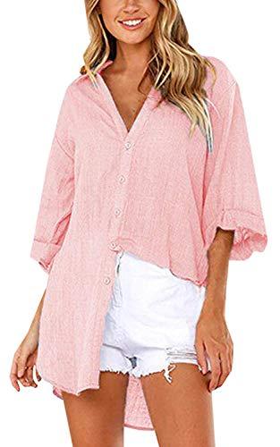 Camicia Camicia Camicetta Manica Soft Bluse Loose Lunga Donna Super OL Solido V Casuale ShallGood A Scollo Bavero Elegante Fit Lunga Button Top Rosa qTpYStx