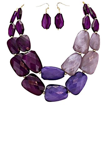 Rosemarie Collections Women's Ombre Polished Resin Statement Necklace Earring Set (Purple)
