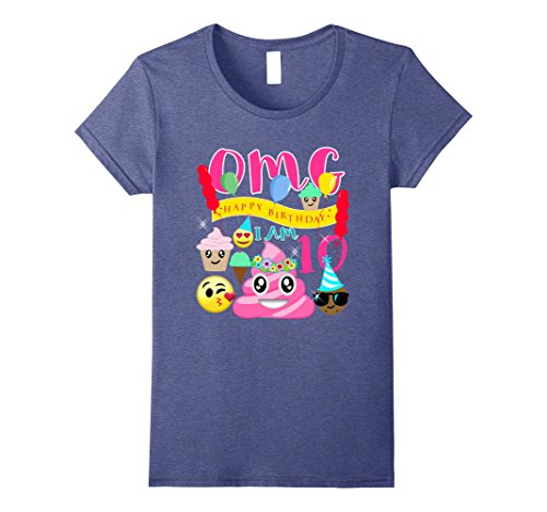 Womens Pink Poo Emoji Poop Birthday Shirt 10th Party 10 Years Old Medium Heather Blue