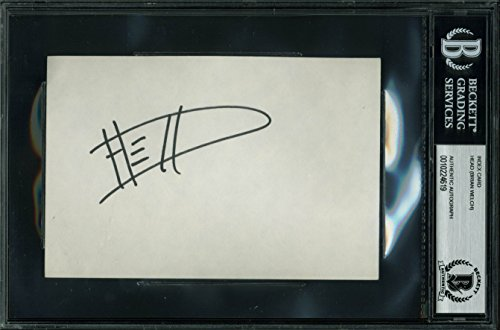 (Korn Head (Brian Welch) Authentic Signed 4x6 Index Card In Black BAS Slabbed)