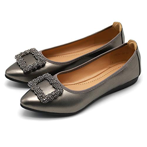 Lambskin Platforms Leather (CYBLING Womens Ballet Flats Pointy Toe Rhinestone Buckle Casual Slip On Walking Shoes)