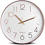 Tebery 12 Inches Minimalist Silent Sweep Wall Clock Non Ticking Digital Modern Stylish (Rosegold)