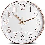 Tebery 12 Inches Minimalist Silent Sweep Wall Clock Non Ticking Digital Modern Stylish