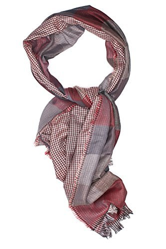 Men Checkered Scarf Plaid Wrap Stole Fall Scarves Versatile Mens Accessories (gray, brick red)