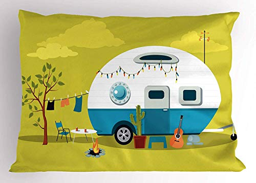 Tigeaslg Camping Pillow Sham, Parked Trailer with Guitar