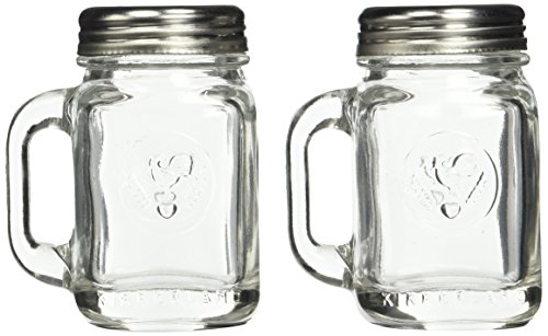 (Kikkerland SP16 Mason Jar Salt and Pepper Shakers, Clear)