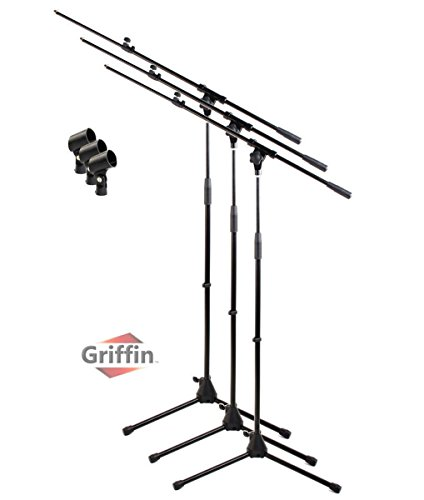 Microphone Boom Stand with Mic Clip (Pack of 3) by Griffin | Telescoping Tripod Premium Quality for Studio, Karaoke, Live Performances, Conferences | Portable with Collapsible Legs & Removable ()