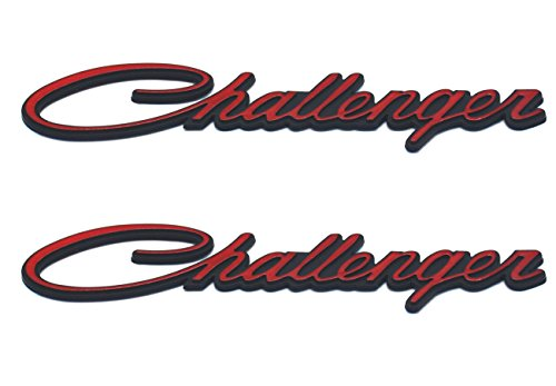 Aimoll 2PCS Challenger Nameplate Emblems, 3D Badges Decal embelms (Black Red)