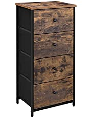 SONGMICS Rustic Vertical Dresser Tower, Industrial Drawer Dresser, Fabric Closet Storage with Metal Frame ULGS04H