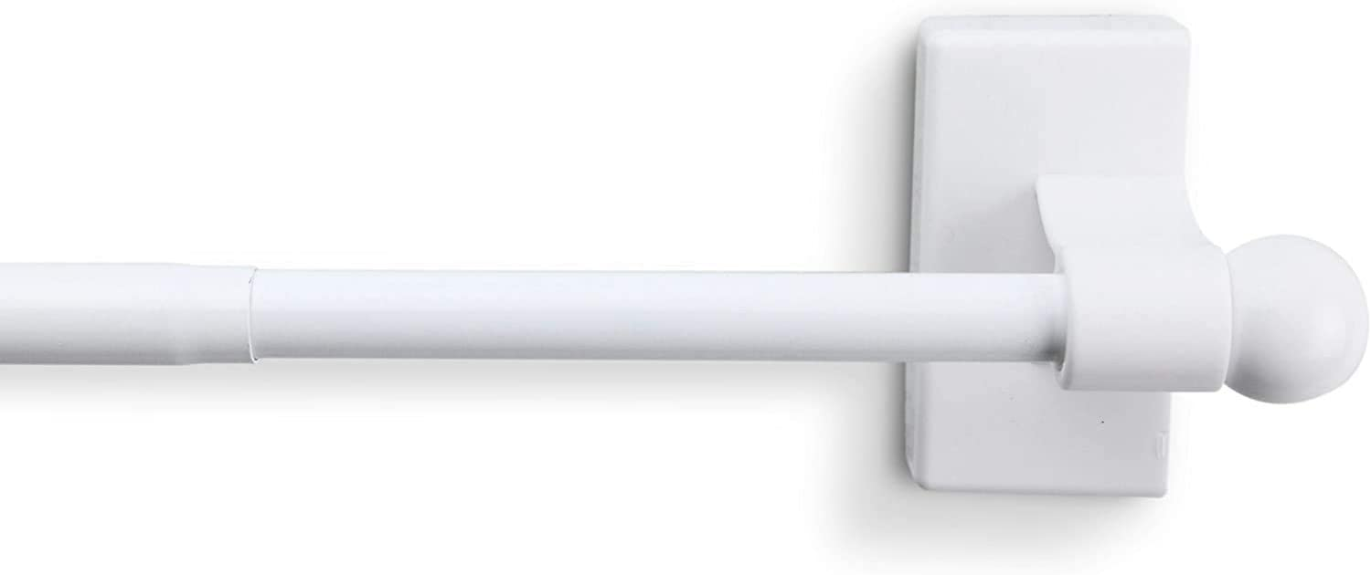 White Magnetic Curtain Rod 17-30 inch