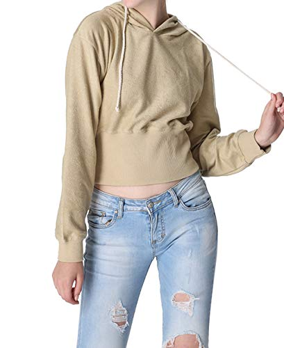 et Blouses Shirts Manches Printemps Automne Femmes Hauts Pulls Capuche Simple Fashion Court Casual Sweat Jeune Kaki Tops Longues Pullover Sweats Fashion Jumpers v6WcUE