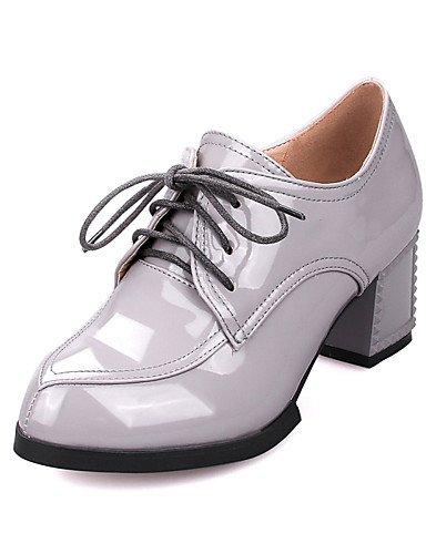 ZQ Zapatos de mujer-Tac¨®n Robusto-Tacones / Puntiagudos-Tacones-Vestido / Casual-Semicuero-Negro / Gris / Bermell¨®n / Almendra , gray-us10.5 / eu42 / uk8.5 / cn43 , gray-us10.5 / eu42 / uk8.5 / cn43 gray-us9.5-10 / eu41 / uk7.5-8 / cn42