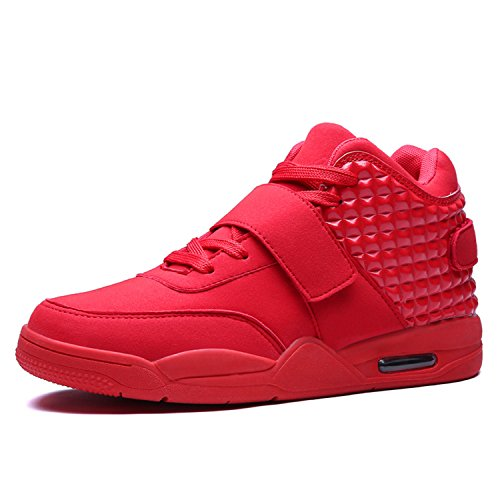 Better Annie New Fashion Autumn Early Winter Men Casual Shoes Lover Red Faux Suede Men Lady High-Top Low Shoes Breathable Bootss Red botas High Red 8