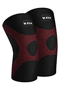 Mava OptimFlex Knee Support Compression Sleeves (Pair) for Running, Jogging,Workout, Walking, Hiking & Recovery - Compression for Joint Pain & Arthritis Relief (Medium, Black & Red)