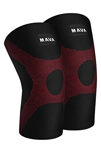 Mava OptimFlex Knee Support Compression Sleeves (Pair) for Running, Jogging,Workout, Walking, Hiking & Recovery - Compression for Joint Pain & Arthritis Relief (Small, Black & (Evolution Sleeveless)