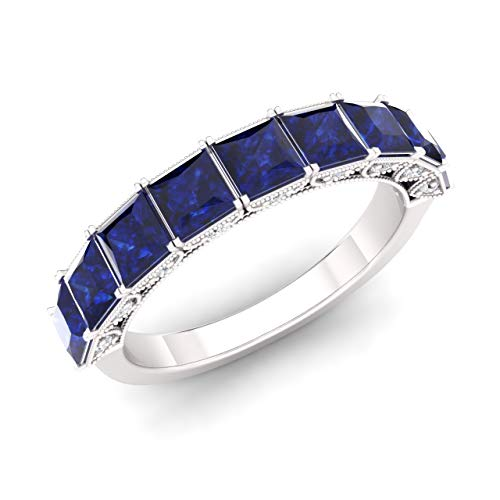 Diamondere Natural and Certified Princess Cut Blue Sapphire and Diamond Wedding Ring in 14K White Gold | 1.83 Carat Half Eternity Art Deco Band for Women, US Size 6 ()