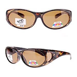 Polarized Fit Over Sunglasses Wear Over Cover Over Prescription Glasses, Size Small, 2 Tortoise (2 Carrying Case Included)