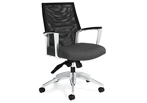 Aluminum Frame Fabric Black Seat - Accord Mesh Mid Back Chair Granite Rock Fabric/Polished Aluminum Frame Dimensions: 25