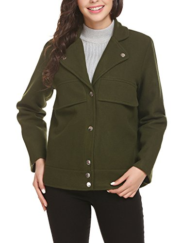 Easther Women's Wool Jacket Double Breasted Overcoat Long Sleeve Peacoat Jacket Cropped Double Breasted Peacoat