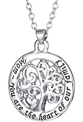 Round Tree of Life Mom You Are the Heart of Our Family Pendant Charm Chain Necklace