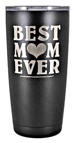"GIFT MOM – ""BEST MOM EVER"" GK Grand Personal-Touch Premium Creations Brand Engraved Stainless Steel Vacuum Insulated Tumbler 20oz Travel Coffee Mug Hot Cold Drink Christmas Birthday Mothers Day -"